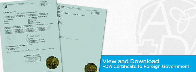 FDA Certificate to Foreign Government